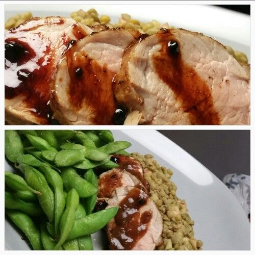 Pork tenderloin (rub SALT, PEPPER, CUMIN, THYME)   Fry in EVOO, about 10 mins, browning.   Bake in oven for 12 - 15 mins in oven 375.   Balsamic reduction used to baste every 4 mins while baking EQUAL PARTS BALS. VIN and BROWN SUGAR   served with EDAMAME and GREEN LENTILS tossed with EVOO, APPLE, SALT, PEPPER