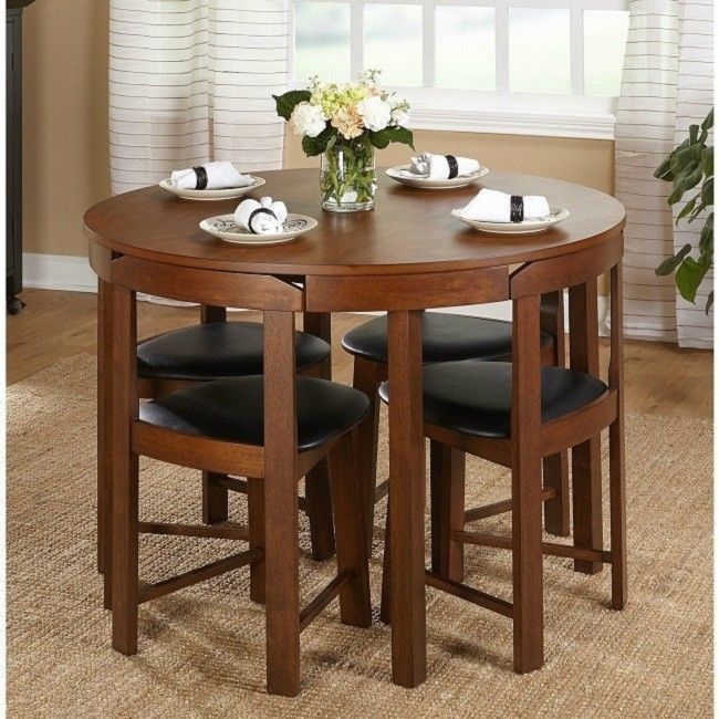 Small Kitchen Round Dining Table 5 Piece Compact Family Dinner