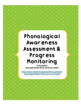 FREE Phonological Awareness Inventory for RTI & Progress Monitoring-- by Georgia Peach That Loves to Teach