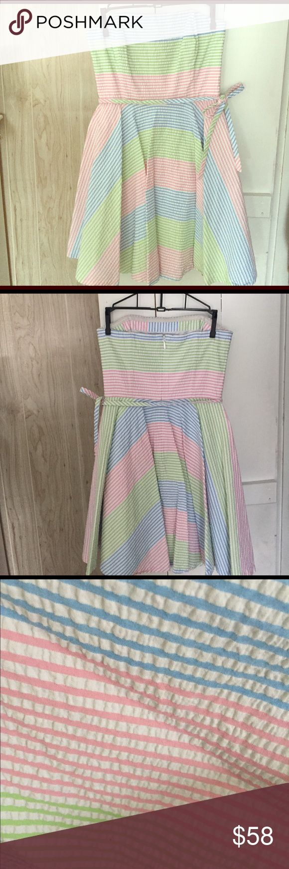 Vineyard Vines Pastel Multi Stripe Strapless Dress This is a gently used Vineyard Vines Pastel Multi Rainbow Stripe Strapless A-line Skirt Dress in size 2. 100% cotton. Seersucker. Has a waist tie with back zipper. Very pretty style and easy to wear dress up for party or dress down for picnic. Length is above the knee. Vineyard Vines Dresses Strapless