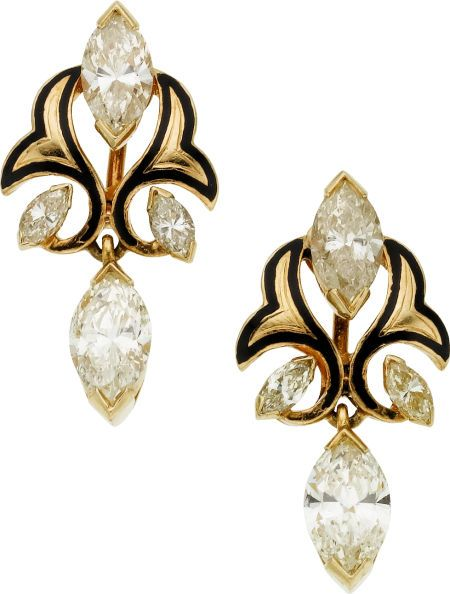 Diamond, Enamel, Gold Earrings  The earrings feature marquise-shaped diamonds weighing a total of approximately 3.00 carats, enhanced by black enamel applied on 14k gold: Black Enamel, Diamonds Weighing, Marquise Shaped Diamonds, Feature Marquise Shaped, 14K Gold, Gold Earrings