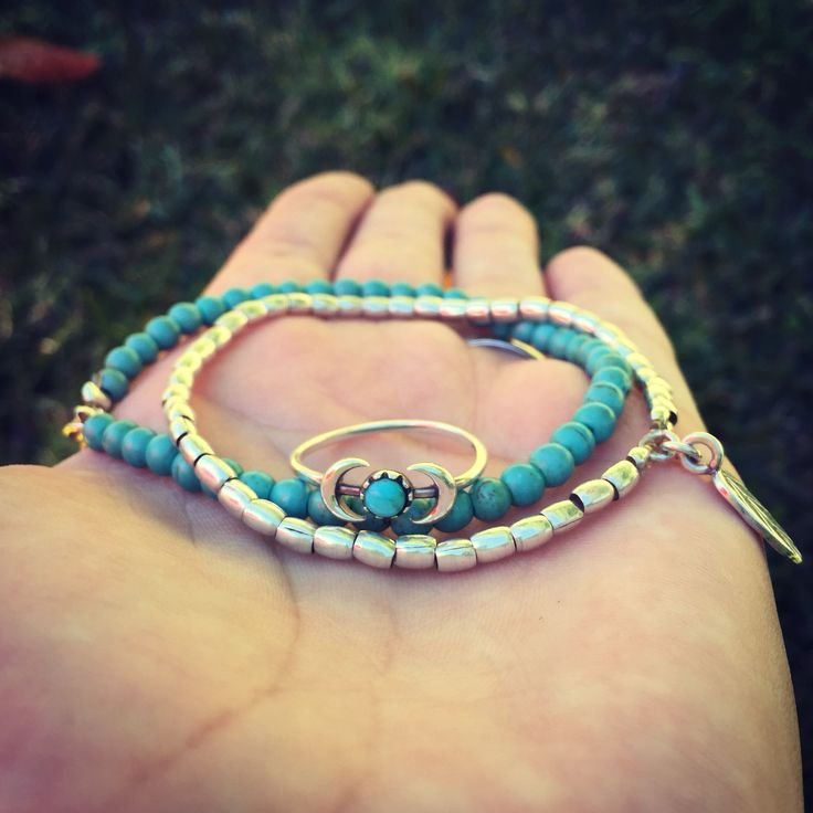 Barefoot Silver Lining and Ocean Breeze bracelet with Centre of the Earth turquoise ring.....worn 24/7 for the past 7months with NO TARNISHING!  Get your high quality BF pieces at www.barefootdesigns.com.au