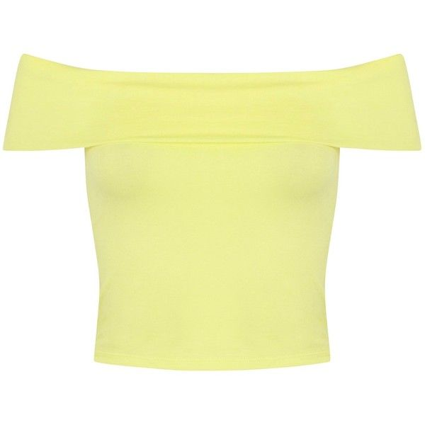 Miss Selfridge Foldover Bardot Top , Yellow ($4.34) ❤ liked on Polyvore featuring tops, crop tops, shirts, daisy cleveland, yellow, bandeau crop top, cotton sleeveless shirts, sleeve crop top, daisy shirt and yellow crop top