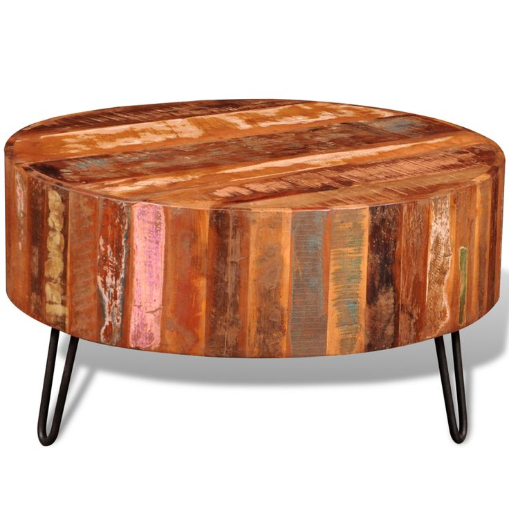 Salontafel rond gerecycled hout