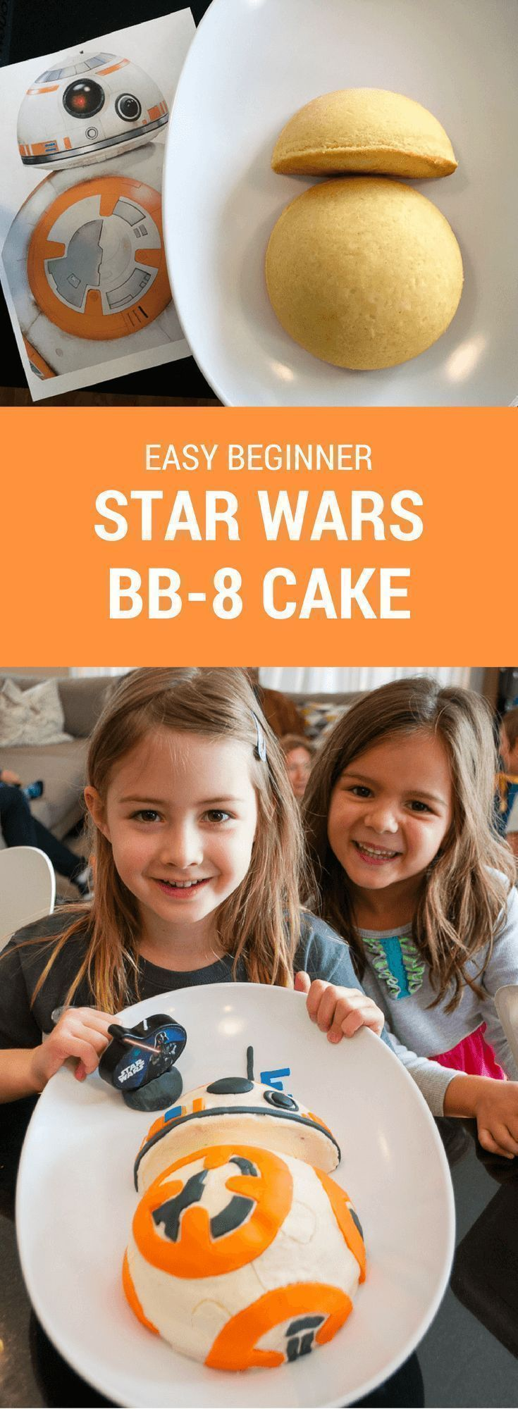 How to make an easy Star Wars BB-8 birthday cake for a Star Wars birthday party. Just print my free BB-8 pattern and follow the easy steps. Great for beginners! #starwars #bb8 #cake #party #birthdaycake