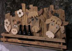 mucche, animaletti, legno, materiale di recupero, artigianato, porta bottiglie, cows, wood
