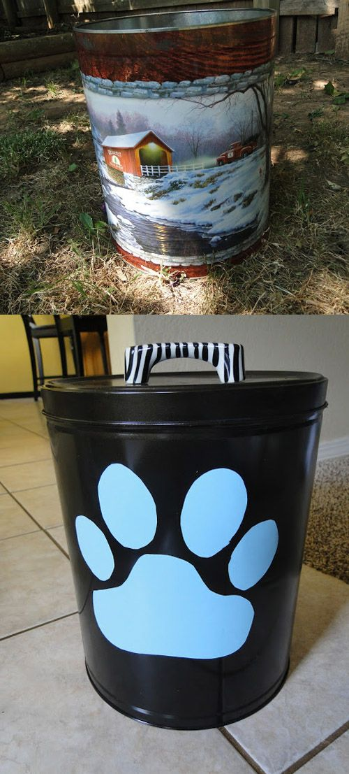 She turned an old popcorn tin into a pet food container - so smart!
