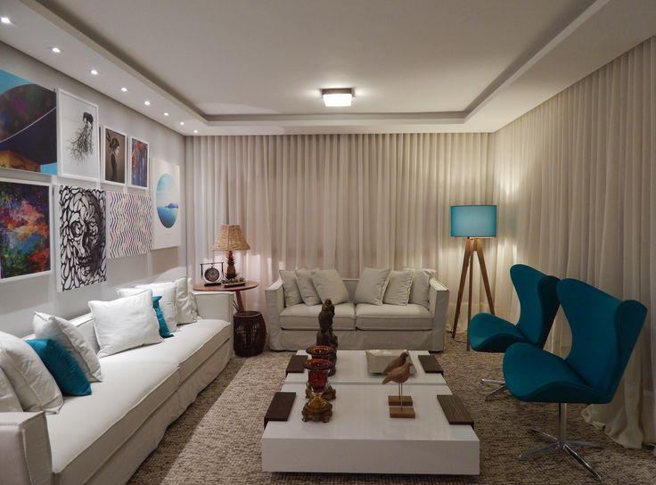 Sala De Estar Azul E Bege ~ Sala de Estar  2014  Arquiteta Barbara Panassi  Azul  Turquesa