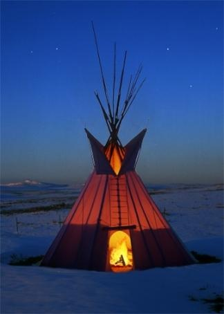 TIPI AT BLACKFOOT TIPI VILLAGE  LODGEPOLE GALLERY • Blackfeet Indian Reservation, Montana, USA.