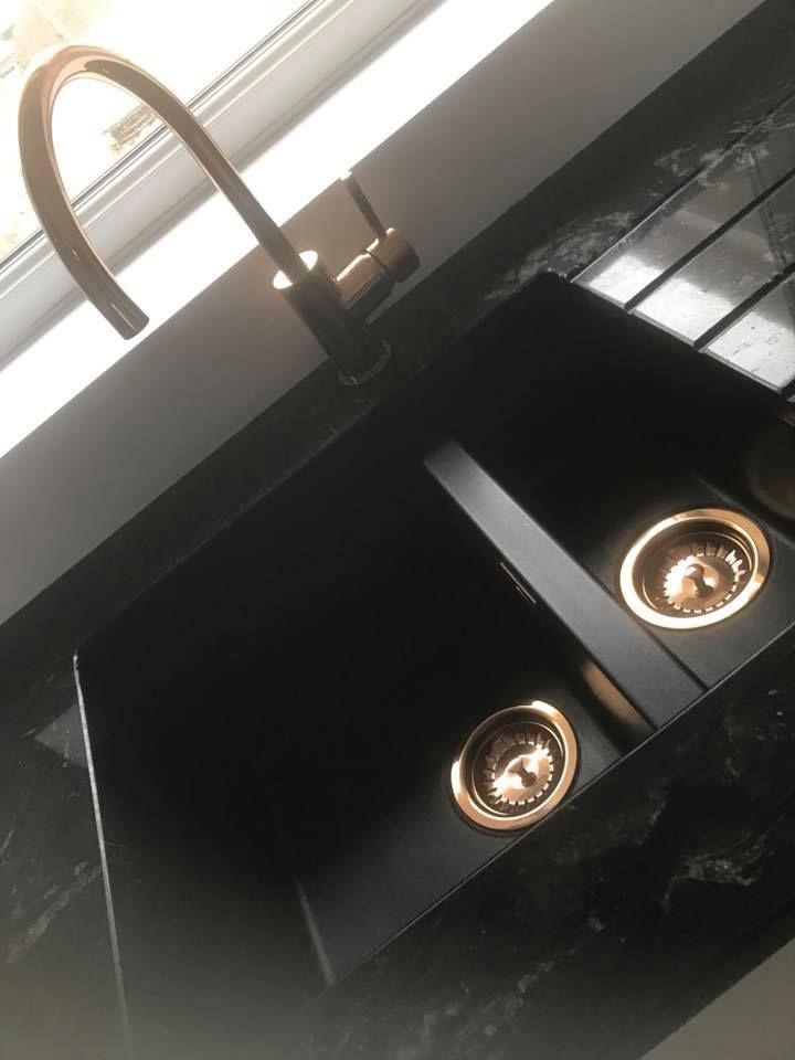 Titanium Granite Worktop With 1810 Co Purquartz Sink And Copper Tap Waste Copper Taps Kitchen Black Sink Copper Taps