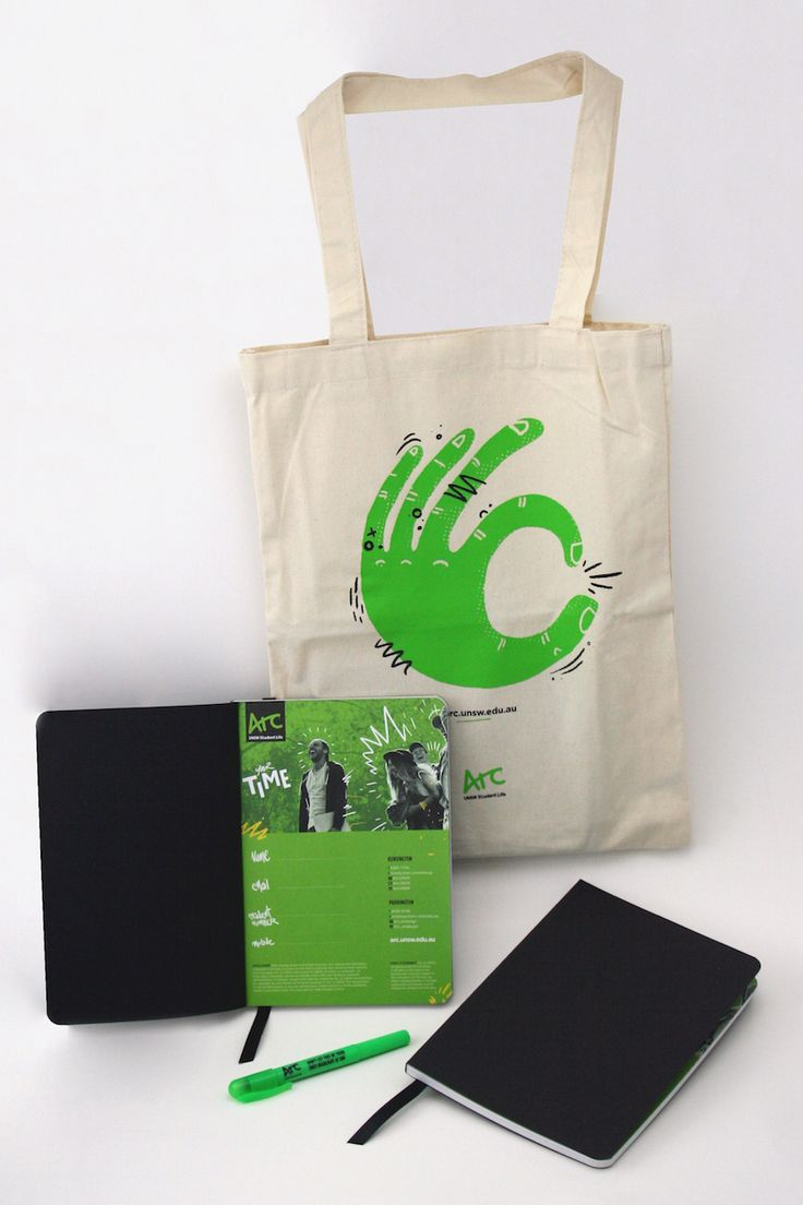 It's in the bag! – UNSW Arc O-Week canvas tote bag with 2017 diary and crayon highlighter