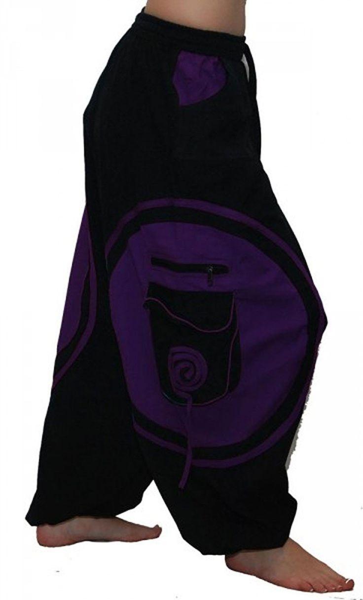 Unisex Psy Baggy Pants Hippie Hose Goa Baumwoll Tanzhose Schwarz/Lila, Größe/Size:L/XL