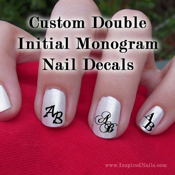 Custom Double Initial Monogram Nail Decals by InspiredNails, $12.00