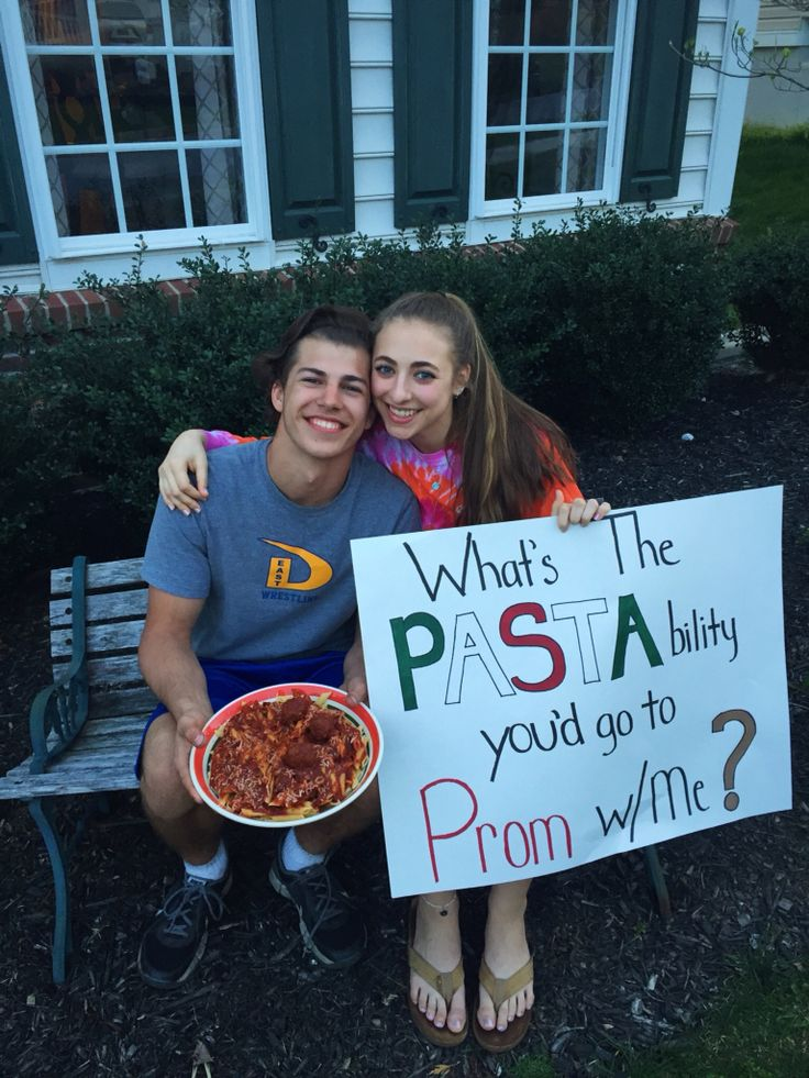 Prom proposal Italian style!!!  This prom proposal is for the guy or girl that loves to eat pasta. My daughter surprised her boyfriend at dinner time. I was making sauce when she remembered how much he likes the sauce and meatballs I make.