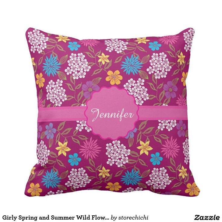 Girly Spring and Summer Wild Flowers, magenta name