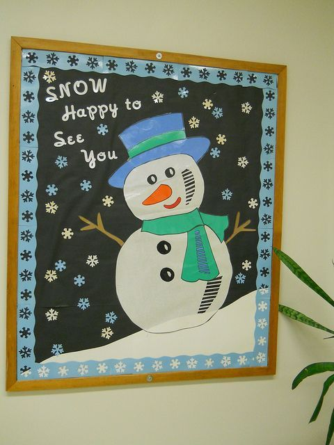 """Snow Happy to See you"" snowman bulletin board. I'd add the kids' pictures to the snowflakes."