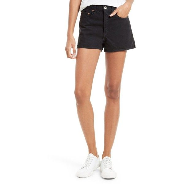 Women's Rag & Bone/jean Justine High Waist Denim Shorts ($123) ❤ liked on Polyvore featuring shorts, black, high-waisted denim shorts, long jean shorts, long denim shorts, denim shorts and high rise jean shorts