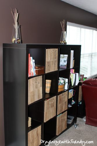Creating Space In The Family Room With Ikea Expedit Units // #organize, #