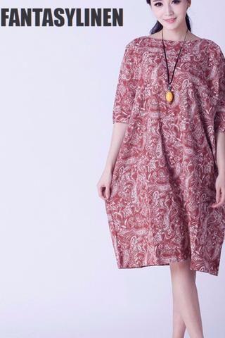 Втулки летучей мыши печати белье Свободные повседневные платья Женщины Топы Q0807A