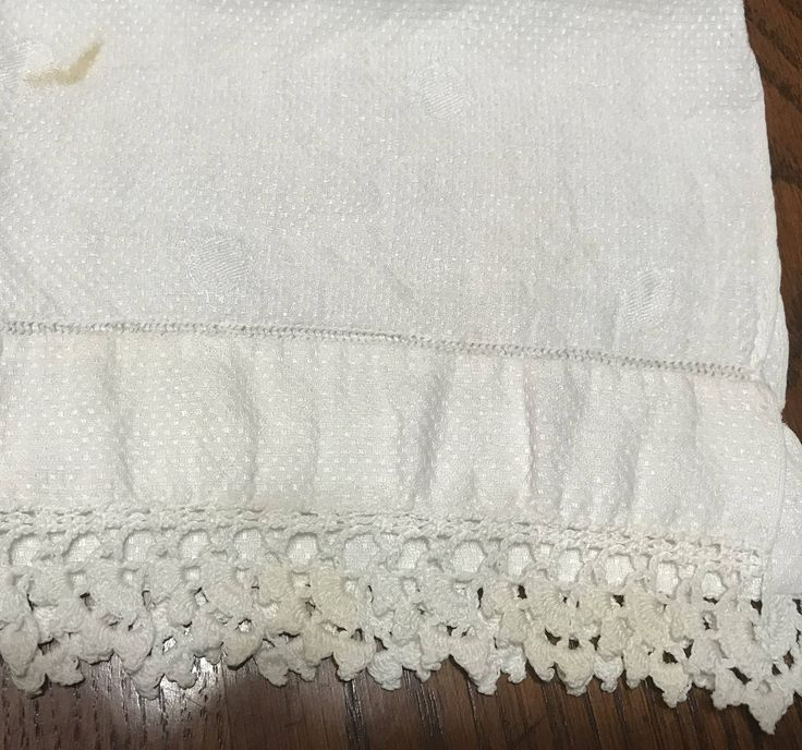 "Small White Tea Towel with 1"" Hand Crocheted Lace Trim - Circa 1950 by Jessamines on Etsy"