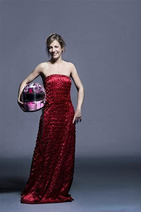 The woman in red or racing?