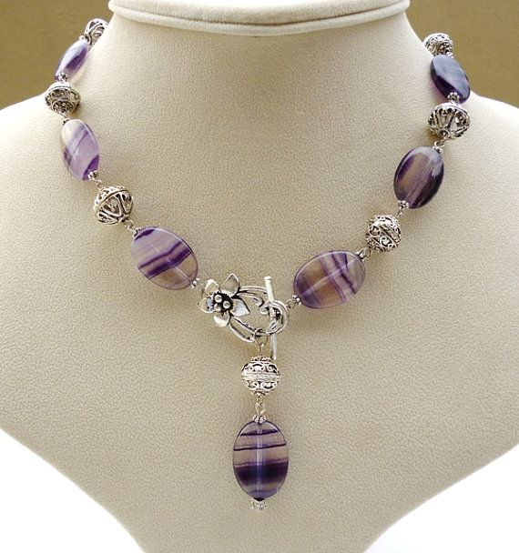 Purple Fluorite Necklace   with front fastening toggle clasp