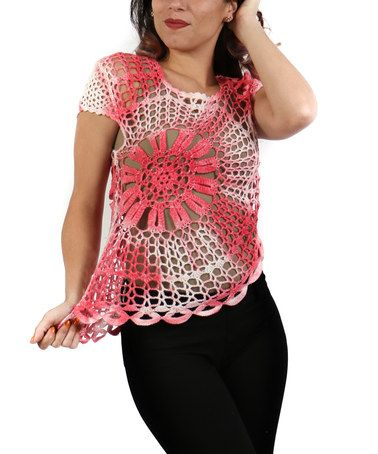 Another great find on #zulily! Pink & White Sheer Crochet Top - Plus #zulilyfinds