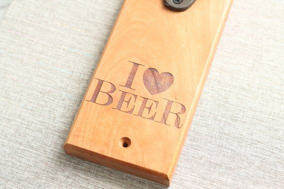 Cherry Premium Wood Cast Iron Wall Mounted Bottle Opener | Beer Bottle Opener | Custom Sign | Gift B