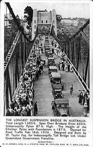 Indooroopilly bridge opening 1936 - Water Taylor Bridge