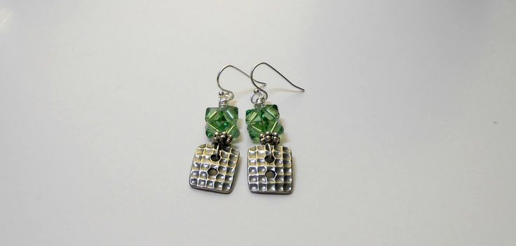 BE MY VALENTINE Erinite Swarovski Bicone Beaded, Wire Wrapped Button Earrings, Perfect Gift For Her, Gift Ideas by HandmadebyJulesnkc on Etsy
