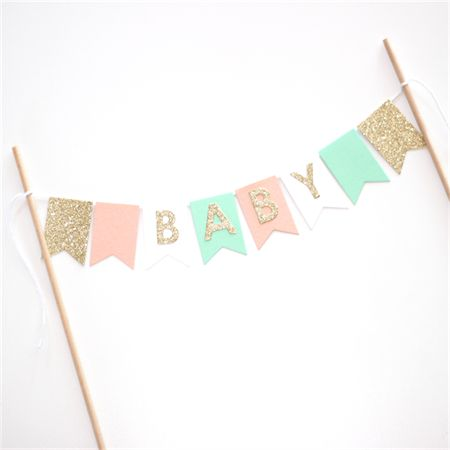 Bunting Cake Topper - Baby Shower Peach, Mint, Gold Glitter and White