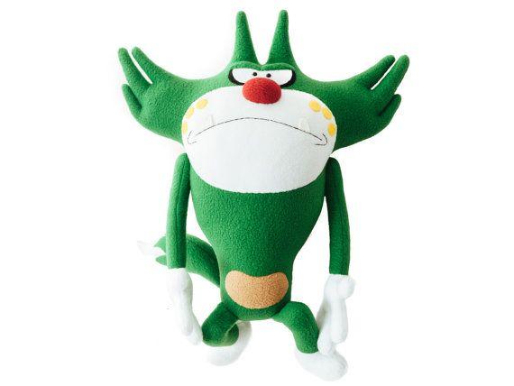 Green funny cat Jack cartoon  handmade soft от LovelyToysAlevtina