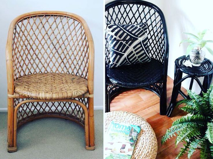 Before and After - I bought this cane chair from a second hand shop.  I have painted it black and made a cushion to give it a bit of Urban Styling. Styled & Photographed by Annette of HHInteriors.