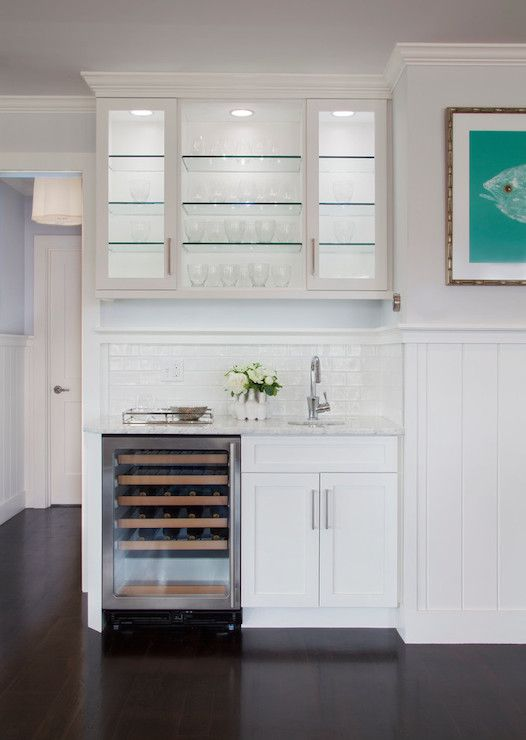 Lit Kitchen Cabinets Transitional Kitchen Wine Cooler