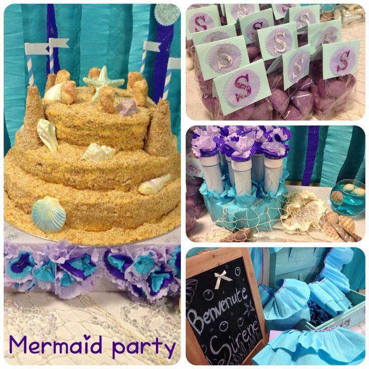 #mermaidpartyideas Festa sirene con torta castello di sabbia,bolle di sapone decorate, piccoli cadeaux personalizzati e angolo per trasformarsi in vere sirene!