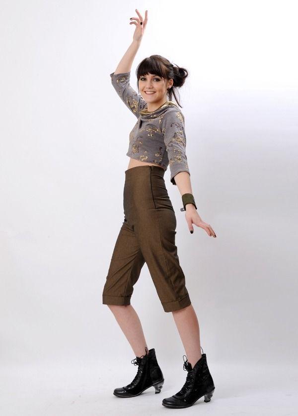 Pantacourt taille haute - Revers bronze T.36 : Pantalons, jeans, shorts par malam
