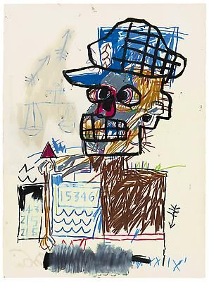 """Jean-Michel Basquiat, """"Untitled (Scales of Justice)"""", 1982, Acrylic and oil paintstick on paper, 30 x 22 1/4 inches (75 x 56.5 cm), The Schorr Family Collection, Art Ⓒ The Estate of Jean-Michel Basquiat / ADAGP, Paris / ARS, New York 2014 Image"""