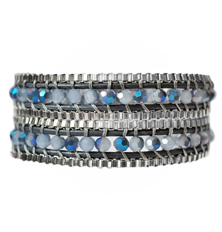 Boho Midnight Double Wrap Bracelet - Jewelry.  This shimmering blue, steel and grey has a cool & modern feel to it. Super-sale happening at EmmaJaxon.com. #emmajaxon #blue #steel #bracelet #modern #style