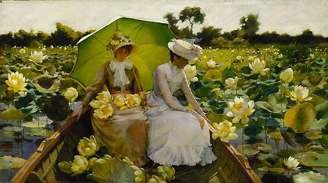 Charles Courtney Curran: Lotus Lilies, Waterlili, Impressionist Paintings, Crosses Stitches Patterns, Curran 18611942, Courtney Curran, American Art, Charles Courtney, Water Lilies