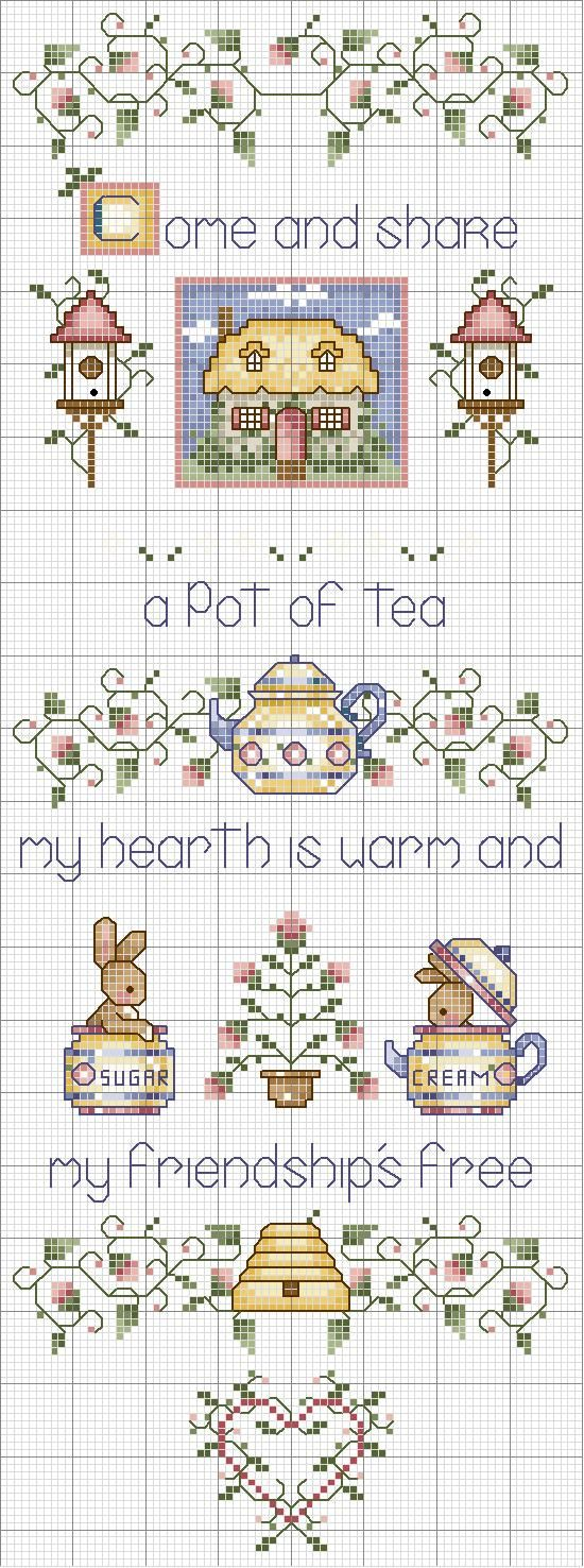 Cross-stitch Tea & Friendship.. no color chart, just use pattern chart colors as your guide.. or choose your own colors.    Schema punto croce Pot Of Tea