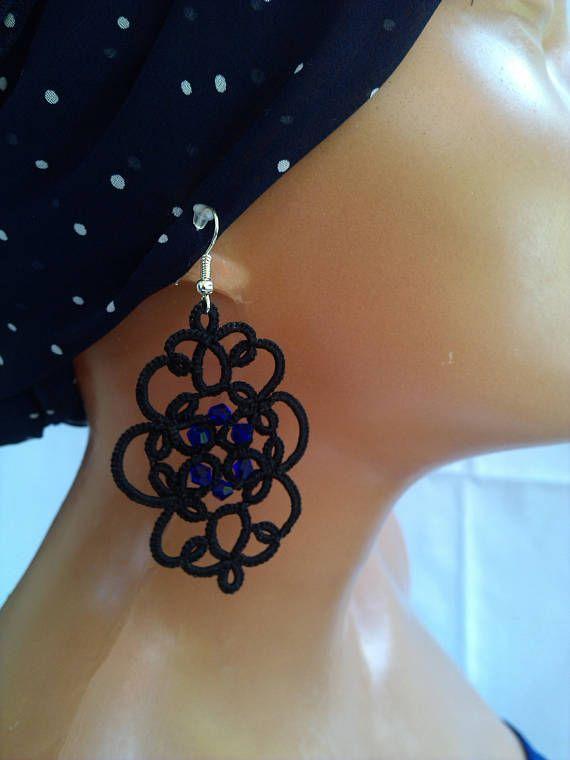 Jewelery Earrings Black Long Purple Gift Vintage Fashion Blue