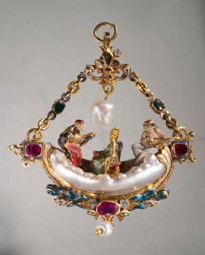 from the Medici collection; renaissance jewel in yellow gold with unique baroque pearl, rubies and emeralds; touch of enamel.
