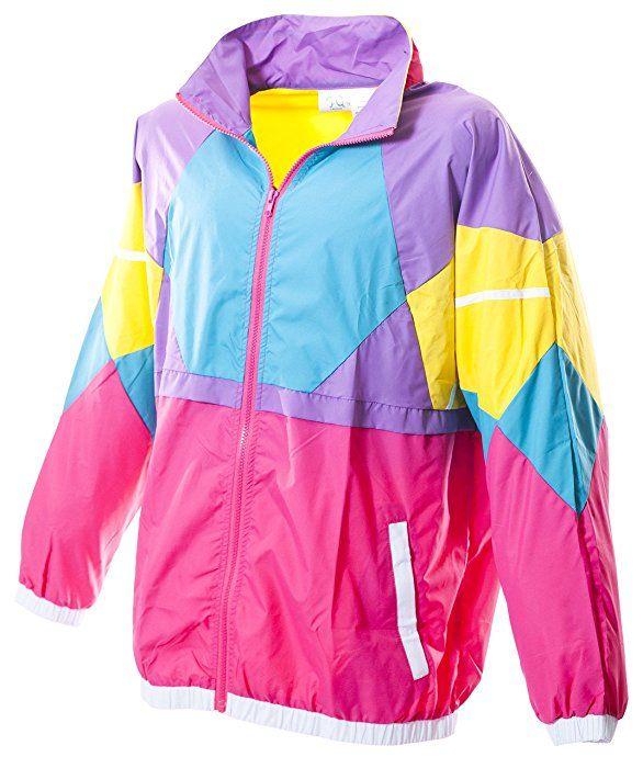 dc1489805f06 Amazon.com  Funny Guy Mugs Like Totally 80s   90s Retro Neon Windbreaker