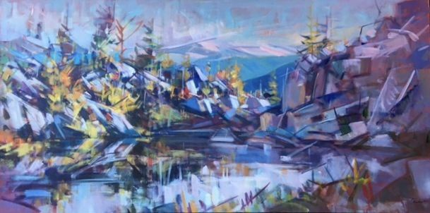 "'September High Terrain Pool' 36"" x 72"" Acrylic on Canvas by Artist Jim Vest"