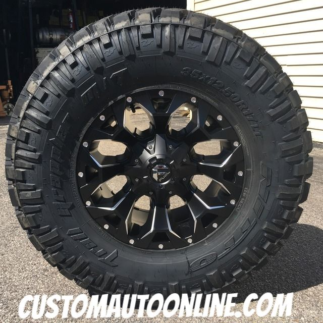 17x9 Fuel Offroad Assault D546 Black And Milled 35x12 50r17 Nitto Trail Grappler Offroad Grappler Assault