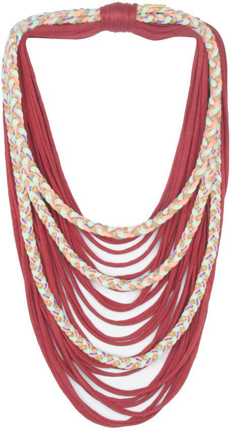 Saako Design Braided Scarflace - Bordeaux with a Salmon