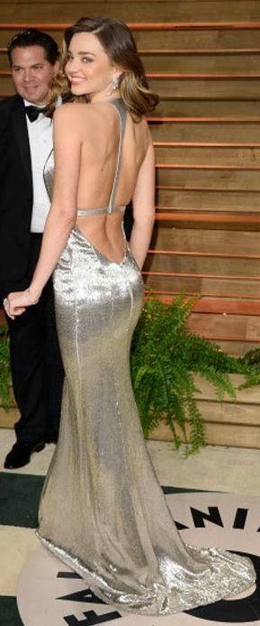 Miranda Kerr Silver Backless Maxi Dress | Vanity Fair Oscars 2104