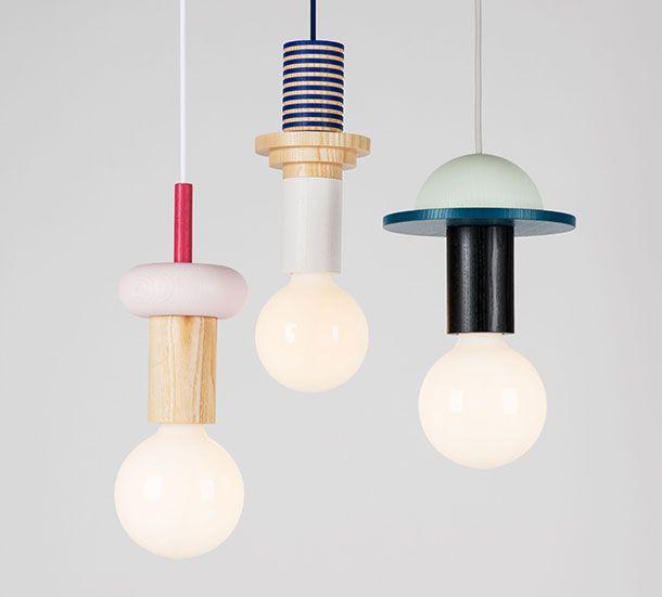 Luminaires formes géométriques - Pastel - épuré - suspentes - suspensions - bois