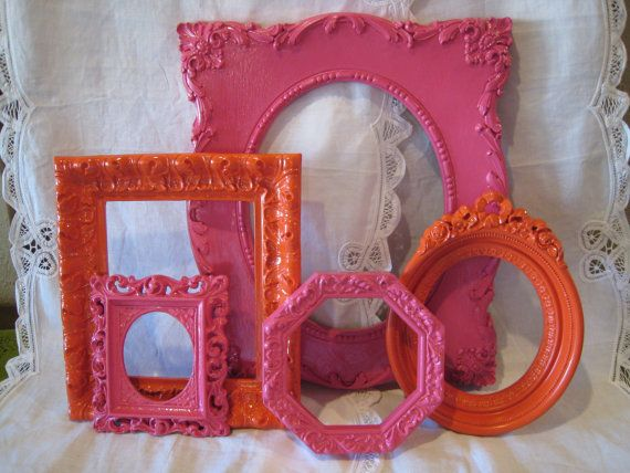 Fuschia / Hot Pink and Orange Ornate Upcycled Frame Set  - Gallery Wall Frame Collection - Open Back Frames - Nursery, Girl, or Dorm Decor