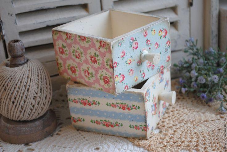 """Купить Два ящичка """"Шебби"""" декупаж - ящички, ящик деревянный, ящик для рукоделия, ящичек, коробочка"""